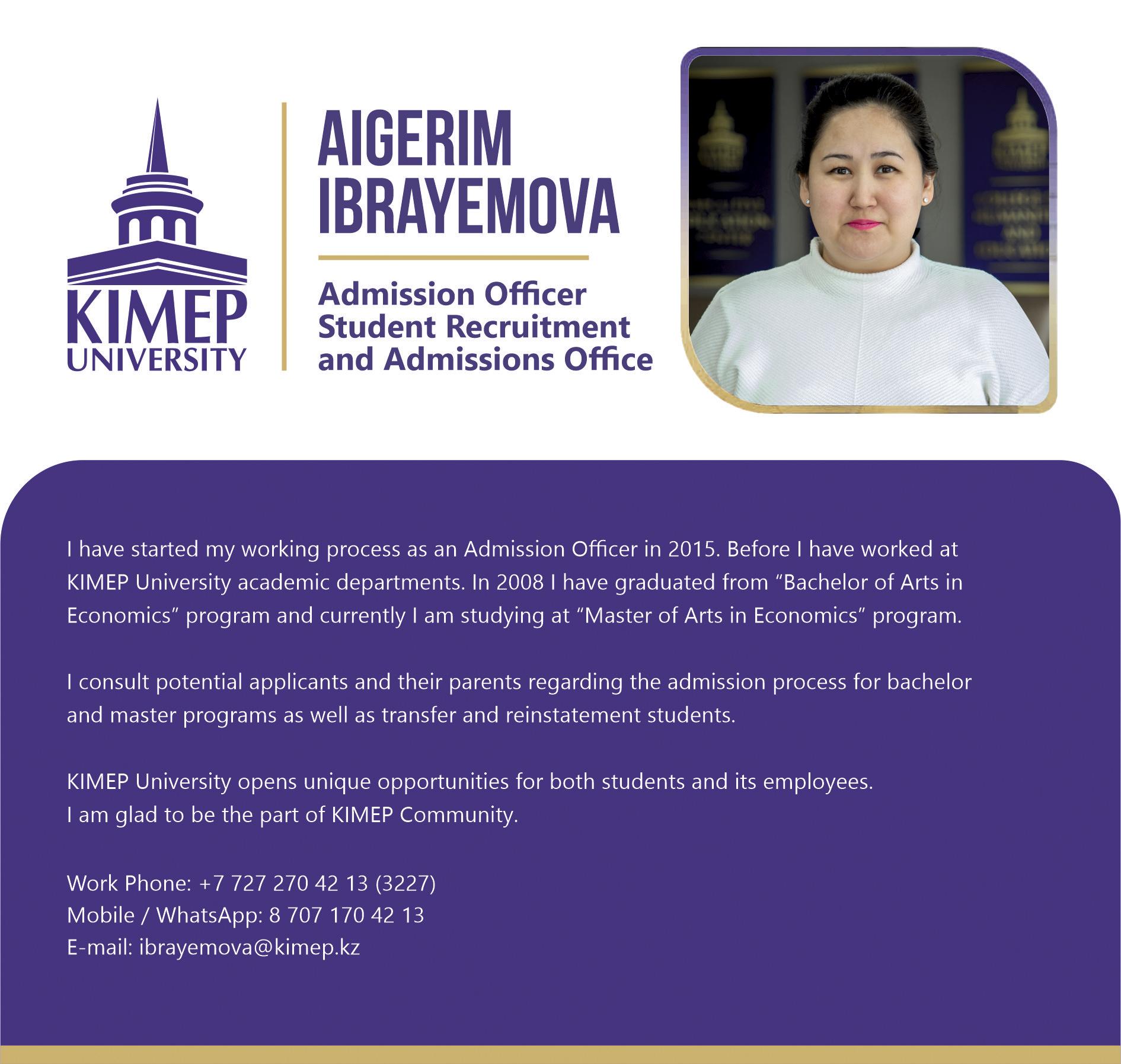 Admission Profile for Aigerim Ibrayemova eng